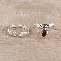Garnet and sterling silver rings, 'Delightful Glimmer' (pair) - Garnet and Sterling Silver Rings from India (Pair)