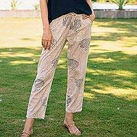 Block print cotton pants, 'Mumbai Muse' - Hand Block Printed Ivory Cotton Pants