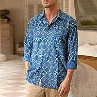 Men's block-printed cotton shirt, 'Bold Diamonds' - Block-Printed Men's Cotton Shirt from India