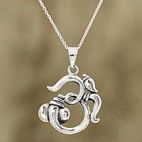 Sterling silver pendant necklace, 'Fascinating Om' - Sterling Silver Om Pendant Necklace from India