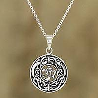 Sterling silver pendant necklace, 'Om Pattern' - Celtic Om Sterling Silver Pendant Necklace from India