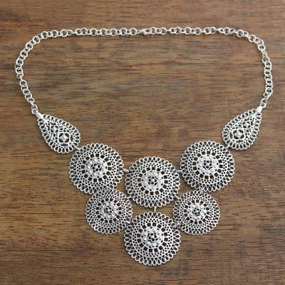 Sterling silver statement necklace, 'Regal Medallions' - Sterling Silver Medallion Statement Necklace from India