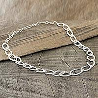 Sterling silver link necklace, 'Fascinating Glisten' - Marquise-Shaped Sterling Silver Link Necklace from India