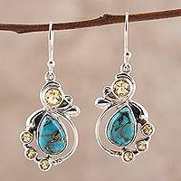 Citrine and composite turquoise dangle earrings, 'Exquisite' - Citrine and Composite Turquoise Dangle Earrings from India