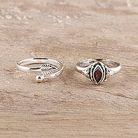 Garnet and sterling silver rings, 'Royal Delight' (pair) - Garnet and Sterling Silver Rings from India (Pair)