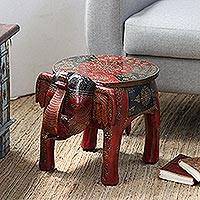 Mango wood stool, 'Elephant Butler' - Hand-Painted Mango Wood Elephant Stool from India