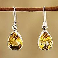 Citrine dangle earrings, 'Yellow Glimmer' - 9-Carat Teardrop Citrine Dangle Earrings from India