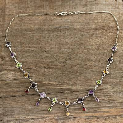 Multi-gemstone link necklace, 'Shimmering Light' - Multi-Gemstone Link Necklace Crafted in India