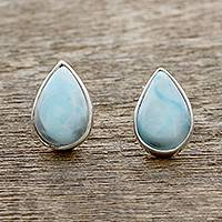Larimar stud earrings, 'Blissful Drops' - Teardrop Larimar Stud Earrings from India