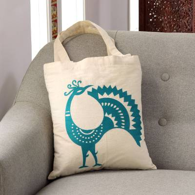 Cotton shoulder bag, 'Peacock Pose in Teal' - Embroidered Peacock Cotton Shoulder Bag in Teal from India