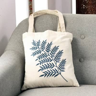 Cotton shoulder bag, 'Ferny Frond in Azure' - Azure Fern Pattern Embroidered Cotton Shoulder Bag