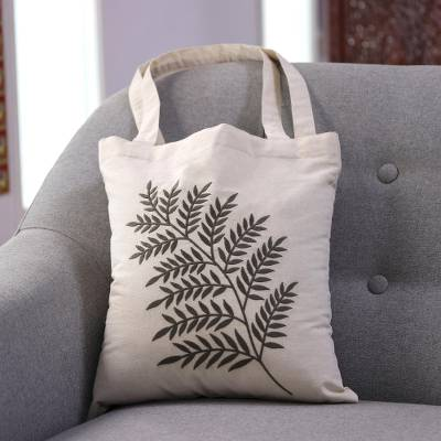 Cotton shoulder bag, 'Ferny Frond in Sage' - Sage Fern Pattern Embroidered Cotton Shoulder Bag from India