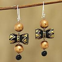 Ceramic dangle earrings, 'Damaru' - Drum-Shaped Ceramic Dangle Earrings from Indi