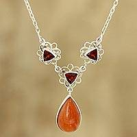 Garnet and aventurine pendant necklace, 'Dusk Glamour - Garnet and Aventurine Pendant Necklace from India