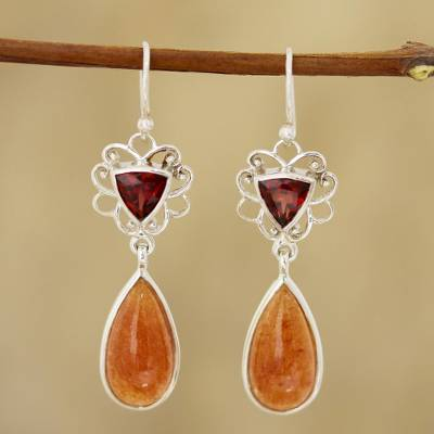 Garnet and aventurine dangle earrings, 'Dusk Glamour' - Garnet and Aventurine Dangle Earrings from India