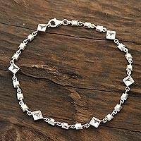 Topaz link anklet, 'Clear Glimmer' - Clear Topaz Link Anklet Crafted in India