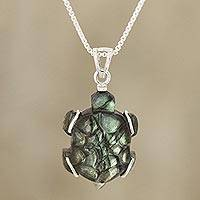 Labradorite pendant necklace, 'Aurora Turtle' - Turtle-Shaped Labradorite Pendant Necklace from India