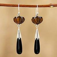 Tiger's eye and onyx dangle earrings, 'Magical Flowers' - Floral Tiger's Eye and Onyx Dangle Earrings from India