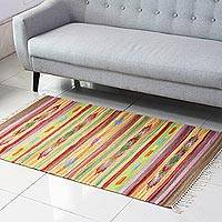 Wool area rug, 'Delhi Colors' (3x5) - Chevron Pattern Wool Area Rug from India (3x5)