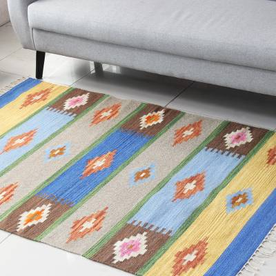 Wool area rug, 'Stripes and Diamonds' (4x6) - Diamond and Striped Pattern Wool Area Rug from India (4x6)