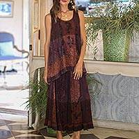 Rayon high-low tank top, 'Russet Fusion' - Sleeveless Rayon Tie-Dyed Embroidered Top