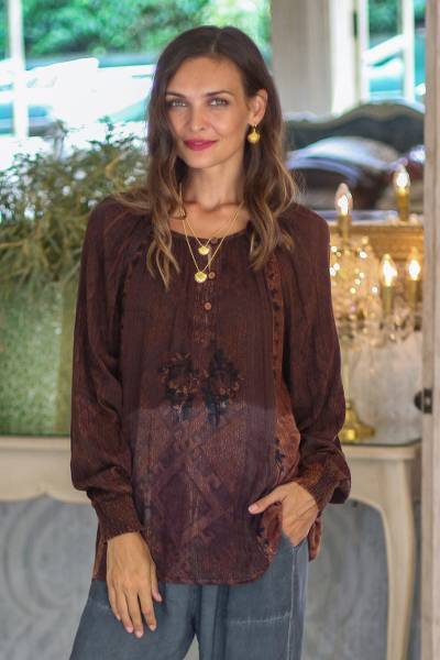 Rayon peasant blouse, 'Russet Fusion' - Embroidered Russet ad Midnight Peasant Blouse