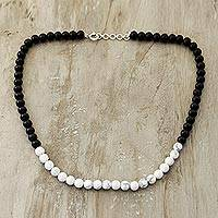 Howlite and ebony wood beaded necklace, 'Fantastic Alliance' - Howlite and Ebony Wood Beaded Necklace from India