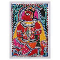 Madhubani painting, 'Majestic Hanuman' - Signed Madhubani Painting of Hanuman from India