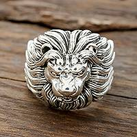 Men's sterling silver ring, 'King's 'Roar - Men's Sterling Silver Lion Ring from India