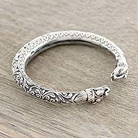 Sterling silver cuff bracelet, 'Elephant Pattern' - Floral Sterling Silver Elephant Cuff Bracelet from India