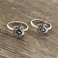 Sterling silver toe rings, 'Glorious Peacocks' - Sterling Silver Peacock Toe Rings from India