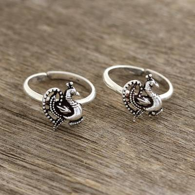 Sterling silver toe rings, Glorious Peacocks