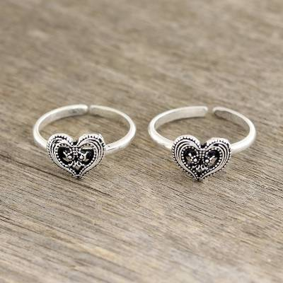 Sterling silver toe rings, 'Friendship Love' - Heart Motif Sterling Silver Toe Rings from India