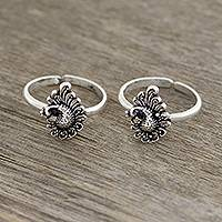 Sterling silver toe rings, 'Peacock Paisley' - Peacock Paisley Sterling Silver Toe Rings from India