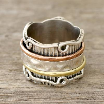Sterling silver spinner ring, 'Creative Flair' - Sterling Silver Spinner Ring with Brass and Copper
