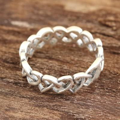 Sterling silver band ring, 'Celtic Hearts' - Celtic Heart Sterling Silver Band Ring from India