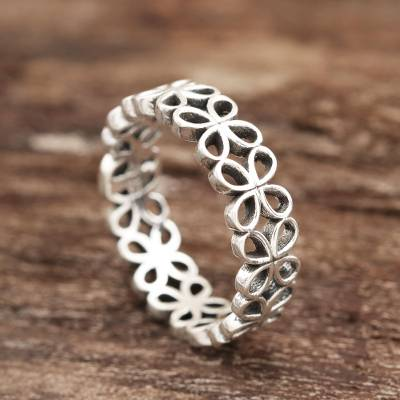 Sterling silver band ring, Happy Petals