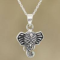 Sterling silver pendant necklace, 'Graceful Ganesha' - Sterling Silver Ganesha Pendant Necklace from India