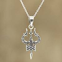 Sterling silver pendant necklace, 'Shiva's Might' - Sterling Silver Pendant Necklace Depicting Shiva's Trident