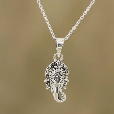 Sterling silver pendant necklace, 'Rejoicing Ganesha' - Sterling Silver Hindu God Ganesha Pendant Necklace