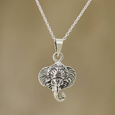 Sterling silver pendant necklace, 'Cheerful Ganesha' - Sterling Silver Ganesha Necklace Crafted in India