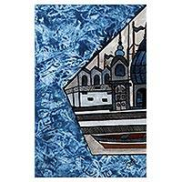 'Soulful Benaras' - Signed Folk Art Painting of Ghats from INdia