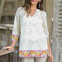 Cotton tunic, 'Madhubani Summer' - Floral Printed Cotton Tunic in Multicolor from India