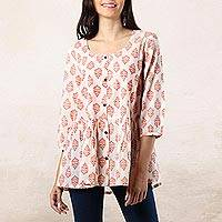 Cotton blouse, 'Sweet Honeysuckle' - Printed Cotton Blouse in Salmon from India