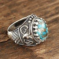 Men's sterling silver ring, 'Worldly' - Men's Sterling Silver and Composite Turquoise Ring