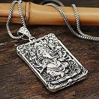 Sterling silver pendant necklace, 'Mahaganapati' - Rectangular Sterling Silver Ganesha Necklace from India