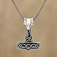 Sterling silver pendant necklace, 'Thor Fox' - Fox-Themed Sterling Silver Thor's Hammer Necklace from India