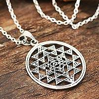 Sterling silver pendant necklace, 'Sri Yantra' - Sterling Silver Geometric Pendant Necklace from India