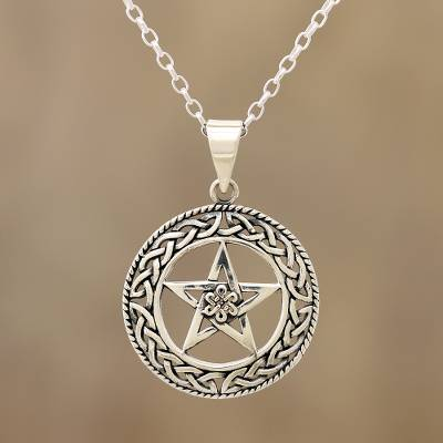 Sterling silver pendant necklace, 'Celtic Star' - Celtic Motif Sterling Star Pendant Necklace from India