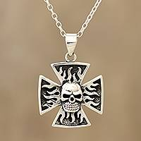 Sterling silver pendant necklace, 'Fiery Skull Cross' - Sterling Silver Skull Cross Pendant Necklace from India